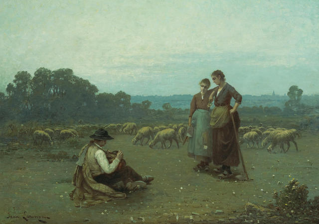 Jean Laronze (French, 1852-1937) Tending the flock  29 x 41in (73.7 x 104.1cm)