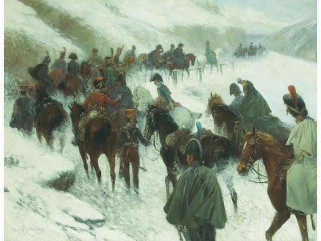 (n/a) Jan van Chelminski (Polish, 1851-1925) Napoleon leading his troops through the Guadarrama Mountains 30 1/2 x 39 1/2in (77.5 x 100.4cm)