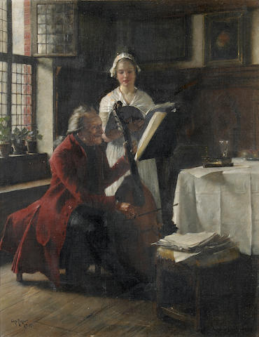 Carl Rickelt (German, born 1857) A musical moment 14 1/2 x 11 3/4in
