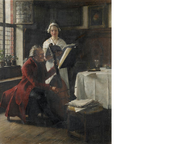 Carl Rickelt (German, born 1857) A musical moment 14 1/2 x 11 3/4in (36.9 x 29.8cm)