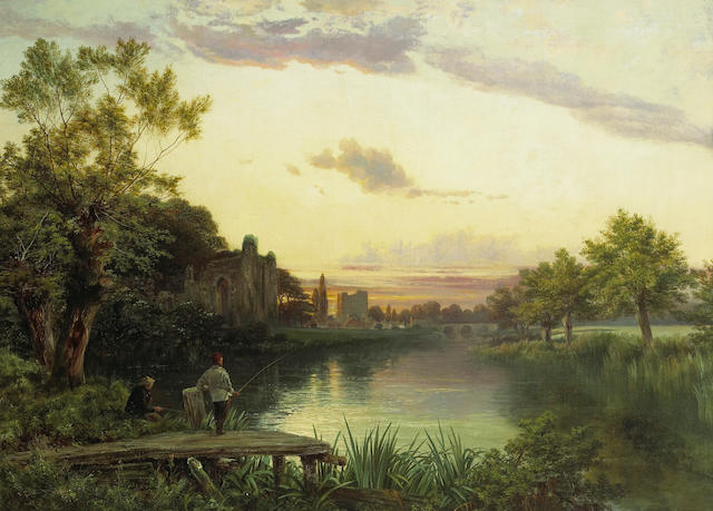 Joseph Paul Pettitt (British, 1812-1882) Anglers at sunset by ruins of an abbey with a village beyond 30 x 41 1/2in (76.2 x 105.4cm)
