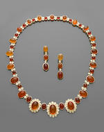 18k gold orange fire opal and diamond necklace39
