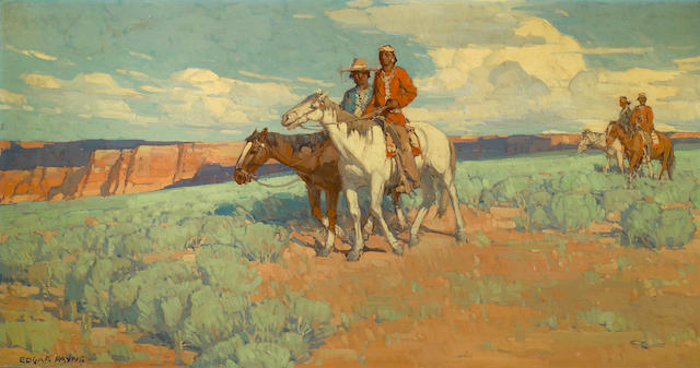 (n/a) Edgar Payne (1883-1947) Indians on the plains 29 x 54in Overall: 34 x 59in