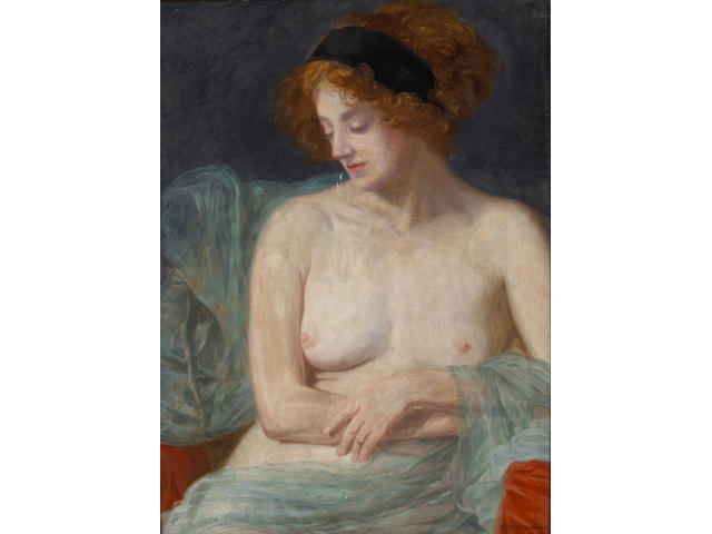 Friedrich König (Austrian, 1857-1941) Study of a draped semi-nude model 31 x 22 3/4in