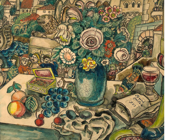 Franz von Zülow (Austrian, 1883-1963) Flowers in a vase, 1922 22 3/8 x 26in (56.8 x 66cm)