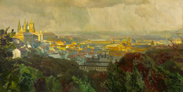 Jaroslav Setelik (Czechoslovakian, 1881-1955) View of Prague 25 x 49in (63.5 x 124.5cm)