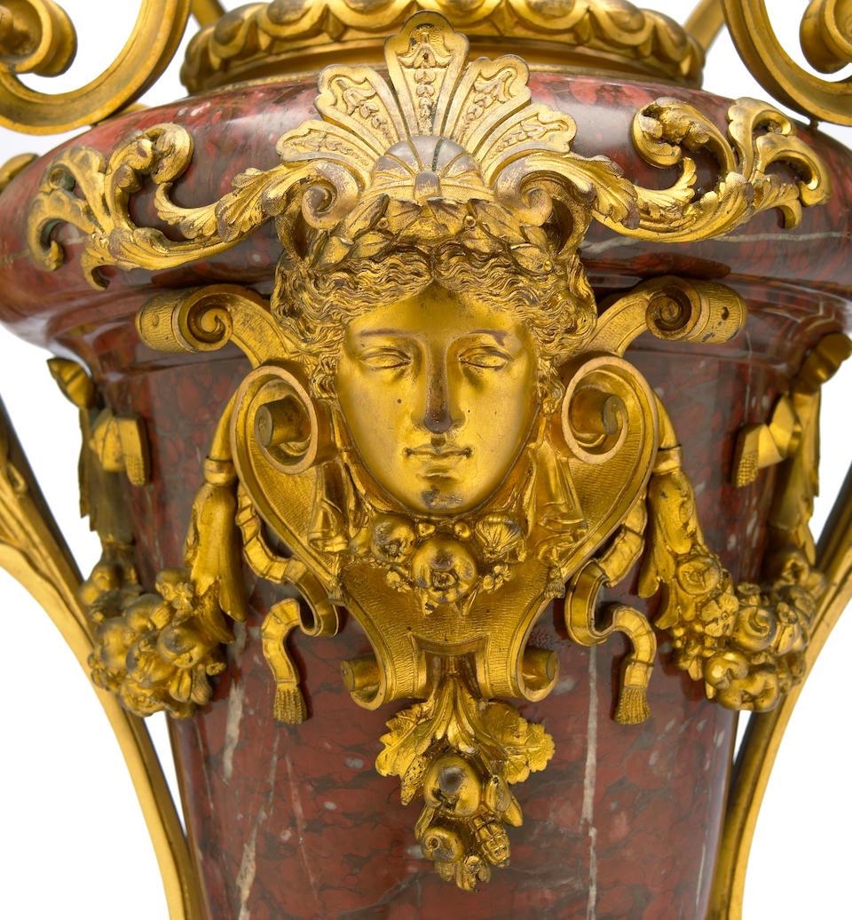 A good French gilt bronze mounted rouge griotte marble urn  Henri Picard late 19th century