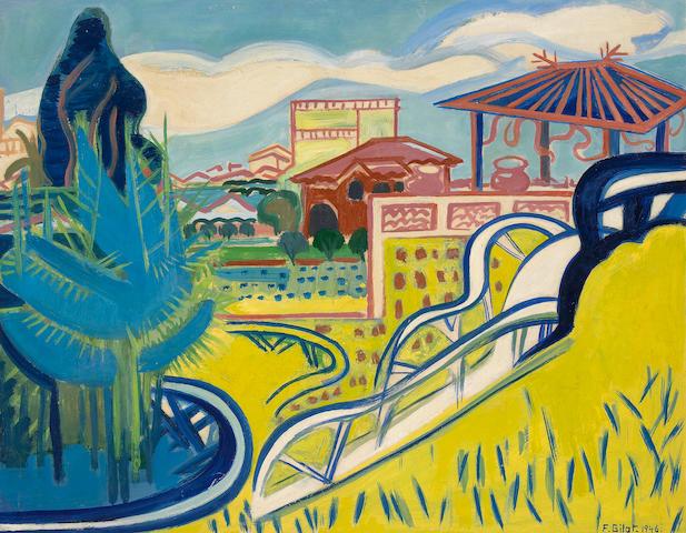 (n/a) Françoise Gilot (French, born 1921) Le Jardin jaune, 1946 19 7/8 x 25 1/4in (50.5 x 64.2cm)