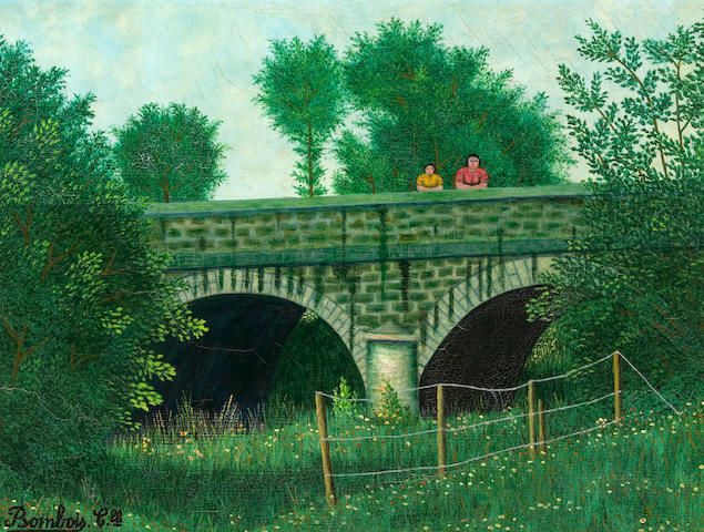 Camille Bombois (French, 1883-1970) Pont avec deux personages, c. 1935 18 1/4 x 24in (46.3 x 61cm)