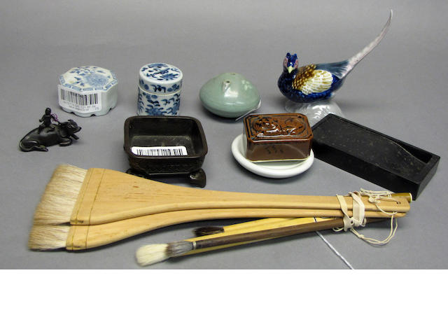 A group of miscellaneous Asian desk accessories