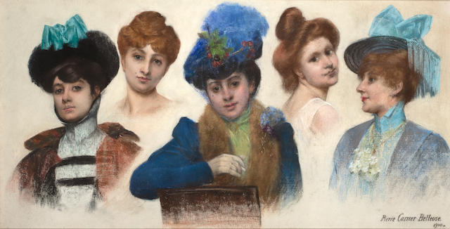 Pierre Carrier-Belleuse (French, 1851-1932) Studies of elegant ladies 29 1/2 x 57 7/8in (74.9 x 146.8cm)