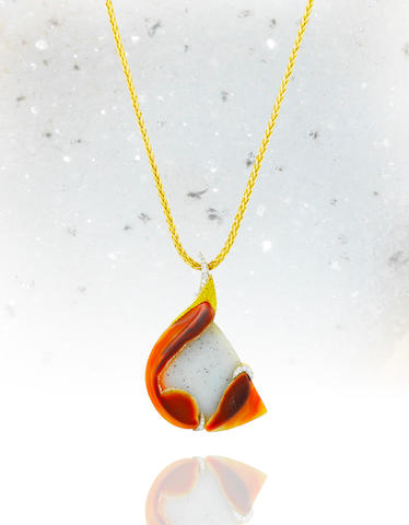 A crystallized and red agate pendant necklace, Tom Scott for Andrew Grima,