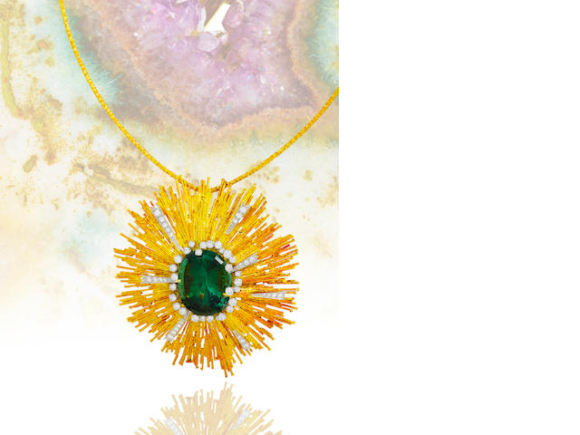 A green tourmaline and diamond pendant necklace, Andrew Grima,