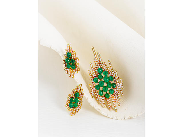 An emerald and diamond brooch and earclips, Tom Scott for Andrew Grima,