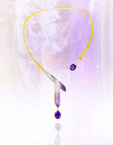 An amethyst and diamond necklace, Tom Scott for Andrew Grima,