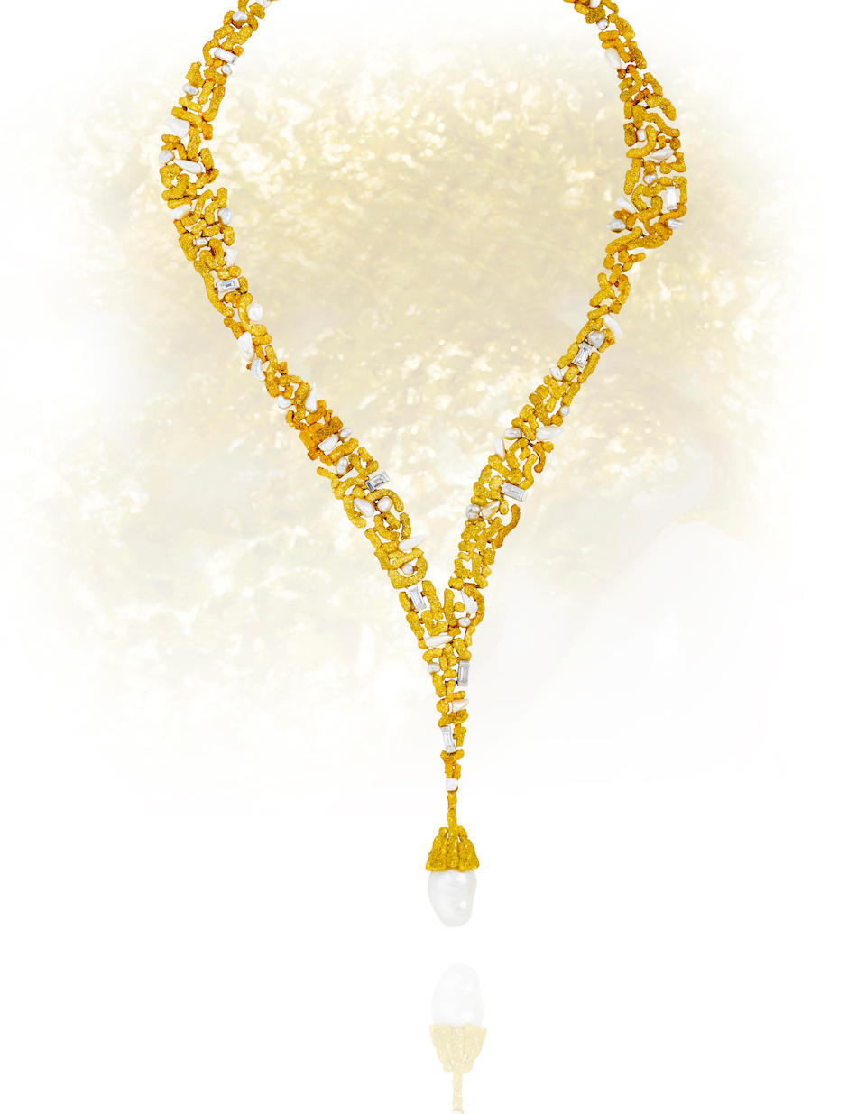 A cultured pearl and diamond necklace, Andrew Grima,