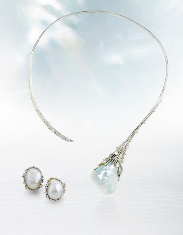 A cultured pearl and diamond necklace and earclips, Andrew Grima,