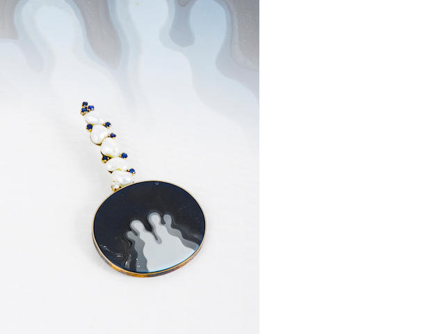 A carved agate, cultured pearl, sapphire and diamond pendant, Tom Scott for Andrew Grima,