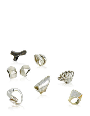 A group of silver jewelry, Takashi Wada