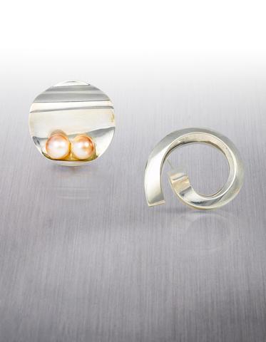 Two silver brooches, Takashi Wada