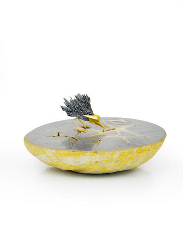 An agate, stibnite and eighteen karat gold objet d'art, Andrew Grima,