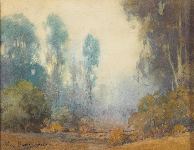 (n/a) Percy Gray (1869-1952) Misty morning, California, 1921 sight: 6 3/4 x 9in