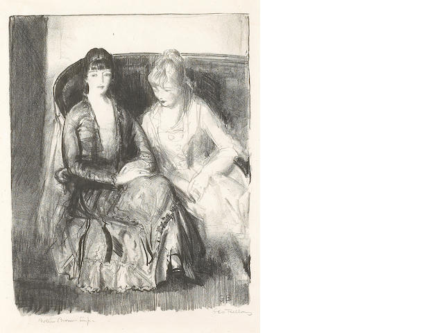 George Bellows (American, 1882-1925); Emma and Marjorie on a Sofa;