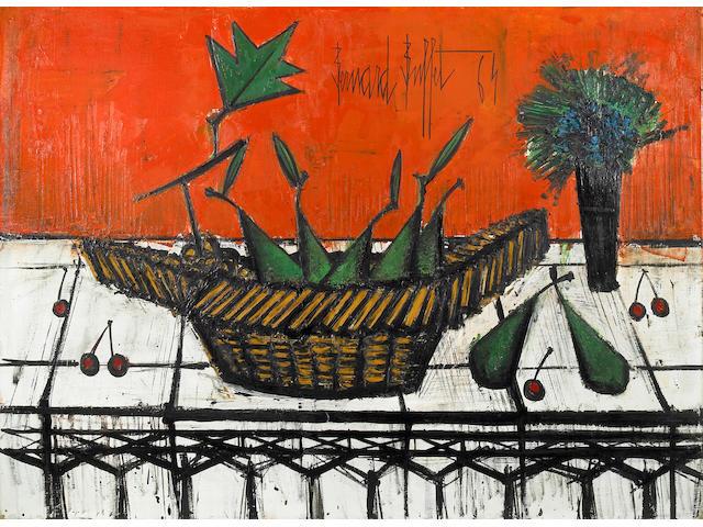 Bernard Buffet (French, 1928-1999) Nature morte avec poires et cerises, 1964 29 x 39 1/2in (73.6 x 100.3cm)