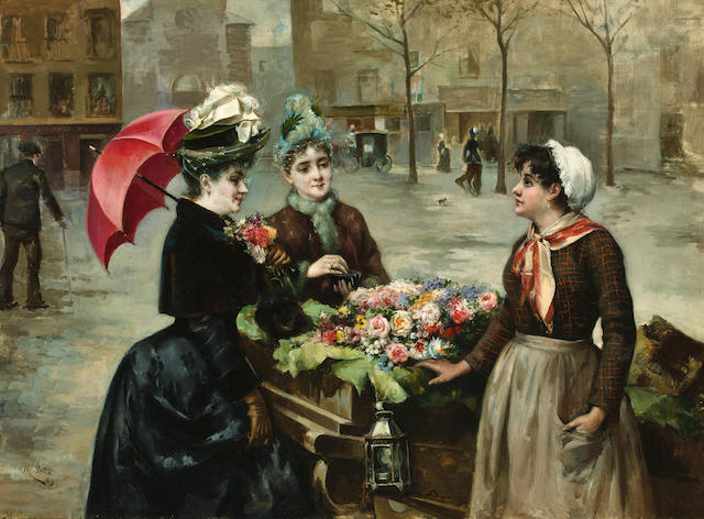 Maximino Peña Muñoz (Spanish, 1863-1940) The flower seller 29 x 39 7/8in