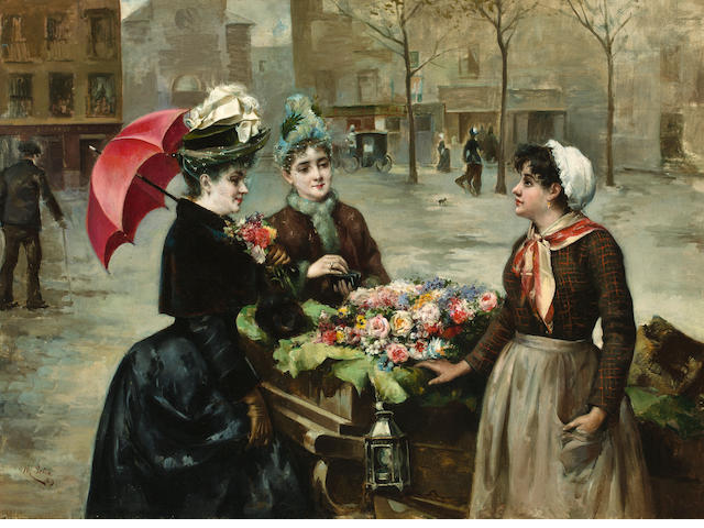 Maximino Peña Muñoz (Spanish, 1863-1940) The flower seller 29 x 39 7/8in (74.9 x 101.1cm)