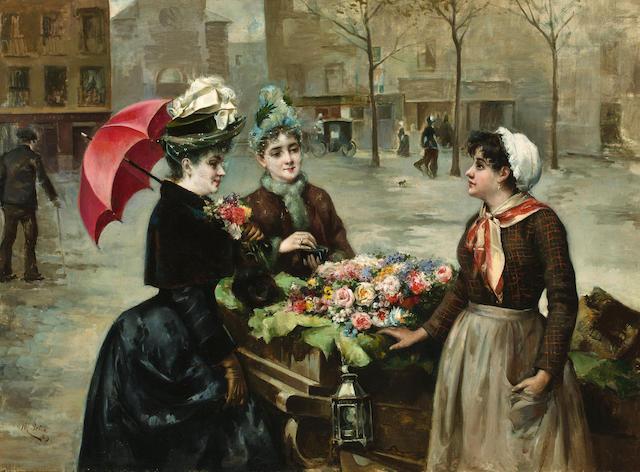 Maximino Peña Muñoz (Spanish, 1863-1940) The flower seller 29 x 39 7/8in (74.9 x 101.1cm)