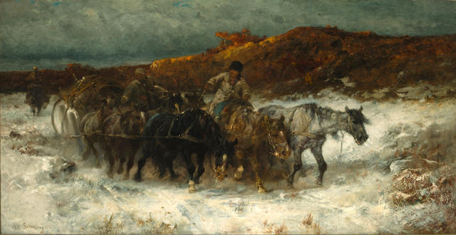 Adolf Schreyer (German, 1828-1899) Homeward bound in the snow 29 x 55.5in (73.7 x 141cm)