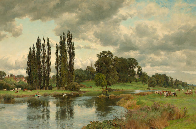 (n/a) Alfred William Parsons (British, 1847-1920) A summer view of Bredon on the Avon 49 x 72 1/2in (124.5 x 184.2cm)