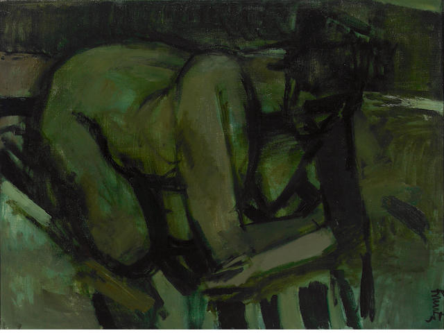 Roger Edward Kuntz (American, 1926-1975) Untitled (Crouching Nude) 29 3/4 x 40 1/4in