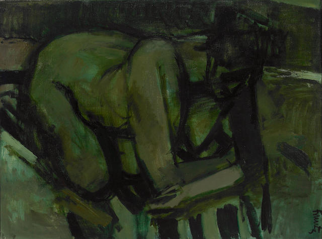 Roger Edward Kuntz (American, 1926-1975) Untitled (Crouching Nude) 29 3/4 x 40 1/4in