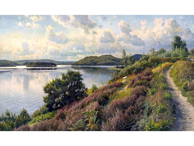 Peder Mork Mönsted (Danish, 1859-1941) A view of Borresö from Himmelbjerget, Denmark 47 1/2 x 78 1/2in (120.7 x 199.4cm)