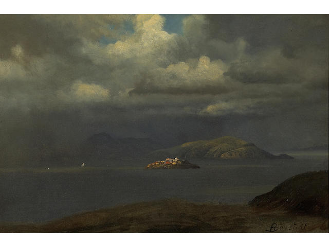 (n/a) Albert Bierstadt (German/American, 1830-1902) Alcatraz, San Francisco Bay, 1875 12 x 18in