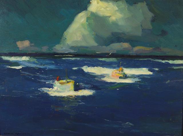 (n/a) Armin Hansen (American, 1886-1957) Salmon trawlers 18 x 24in