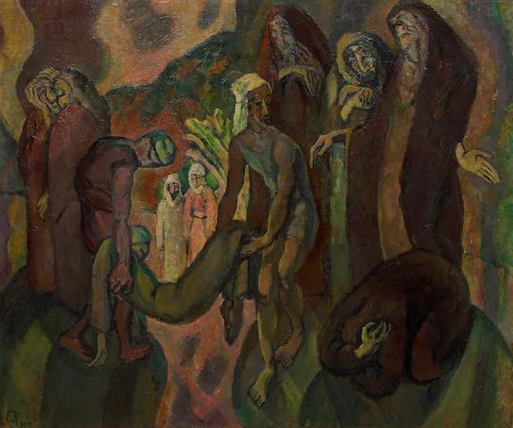 Eugen von Kahler (Czechoslovakian, 1882-1911) Biblische komposition, 1910 31 5/16 x 37 3/8in (79.5 x 95cm)