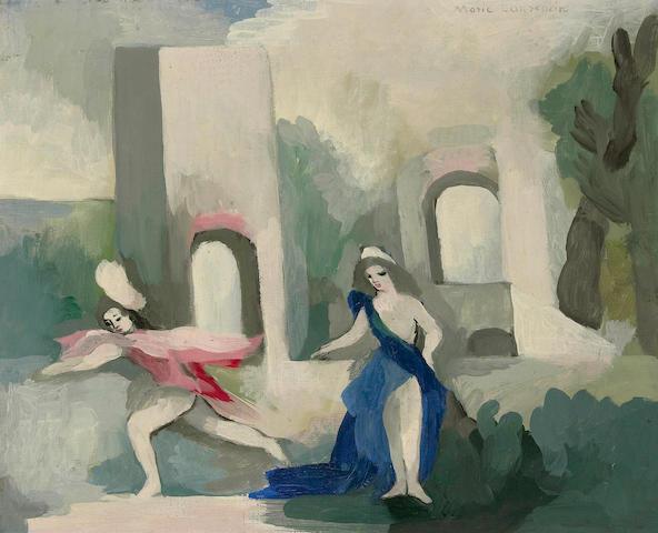 (n/a) Marie Laurencin (French, 1885-1956) Deux jeunes filles dans un jardin 13 x 16in (33 x 40.5cm)