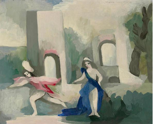 Marie Laurencin (French, 1885-1956) Deux jeunes filles dans un jardin 13 x 16in (33 x 40.5cm)