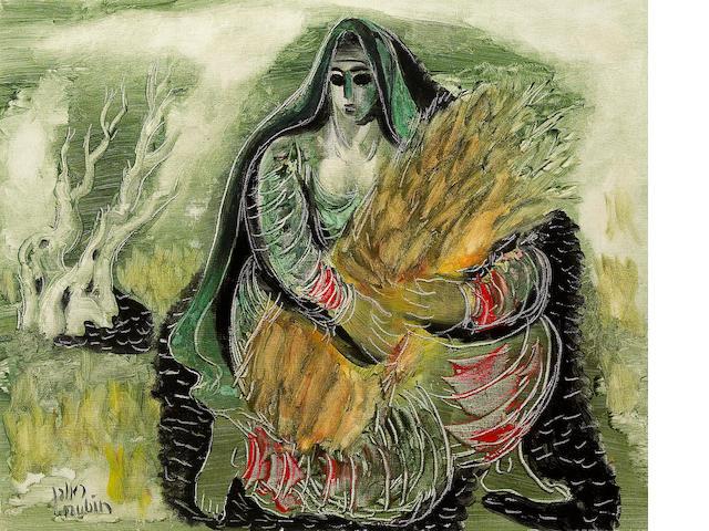 Reuven Rubin (Israeli, 1893-1974) Ruth, 1963 15 3/16 x 18 1/2in (38.5 x 47cm)