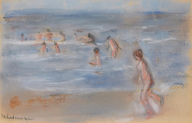 Max Liebermann (German, 1847-1935), AUTHENTICATING Untitled (Children playing at the beach) 5 x 7 3/4in (12.7 x 19.7cm)