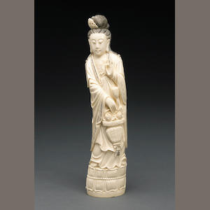 A tinted and pieced ivory figure of Guanyin China<Br>20th Century<b/>