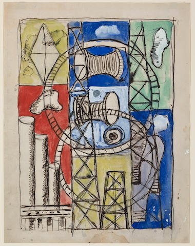 (n/a) Fernand Léger  (French, 1881-1955) Studies for the City of Light mural for the Con Edison New York World's Fair building, 1938 (3) each 11 3/8 x 8 1/4in (29 x 22.2cm)
