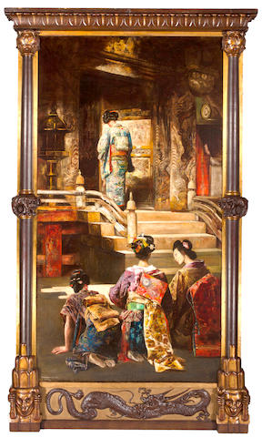 (n/a) Gyula Tornai (Hungarian, 1861-1928) A Japanese princess going to church 96 1/2 x 52in (245 x 132cm)