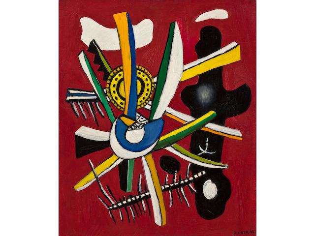 Fernand Léger  (French, 1881-1955) Fantasie sur fond rouge, 1943 24 x 19 7/8in (61 x 50.5cm)