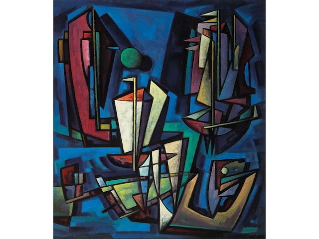 Emil James Bisttram (American, 1895-1976) Marine patterns, 1950 45 x 40in