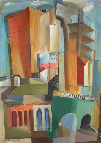 Grace Waldo Clements (American, 1905-1969) Architecture, 1934-35 51 x 36in