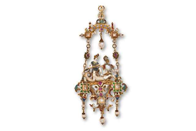 A Renaissance revival pearl, enamel and gem-set pendant,